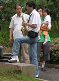 Sax player in Shanghai park