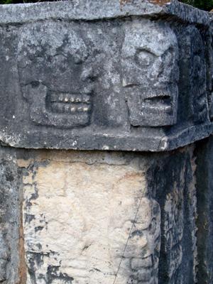 Mayan skull carvings
